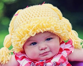 Cabbage Patch Doll Wig Hat with pigtails for baby infant photography prop Brunette Blonde