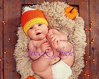 Candy Corn Crochet Baby Hat - Fall or Halloween Photography Prop- Newborn Baby Infant