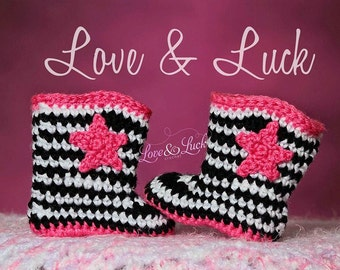 Crochet Cowgirl Boots for new baby - Hot Pink Black and White Stripes