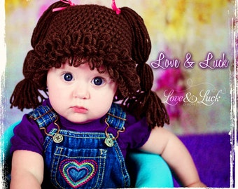 Baby Doll wig Crochet Hat with pigtails for baby or Toddler - Halloween costume