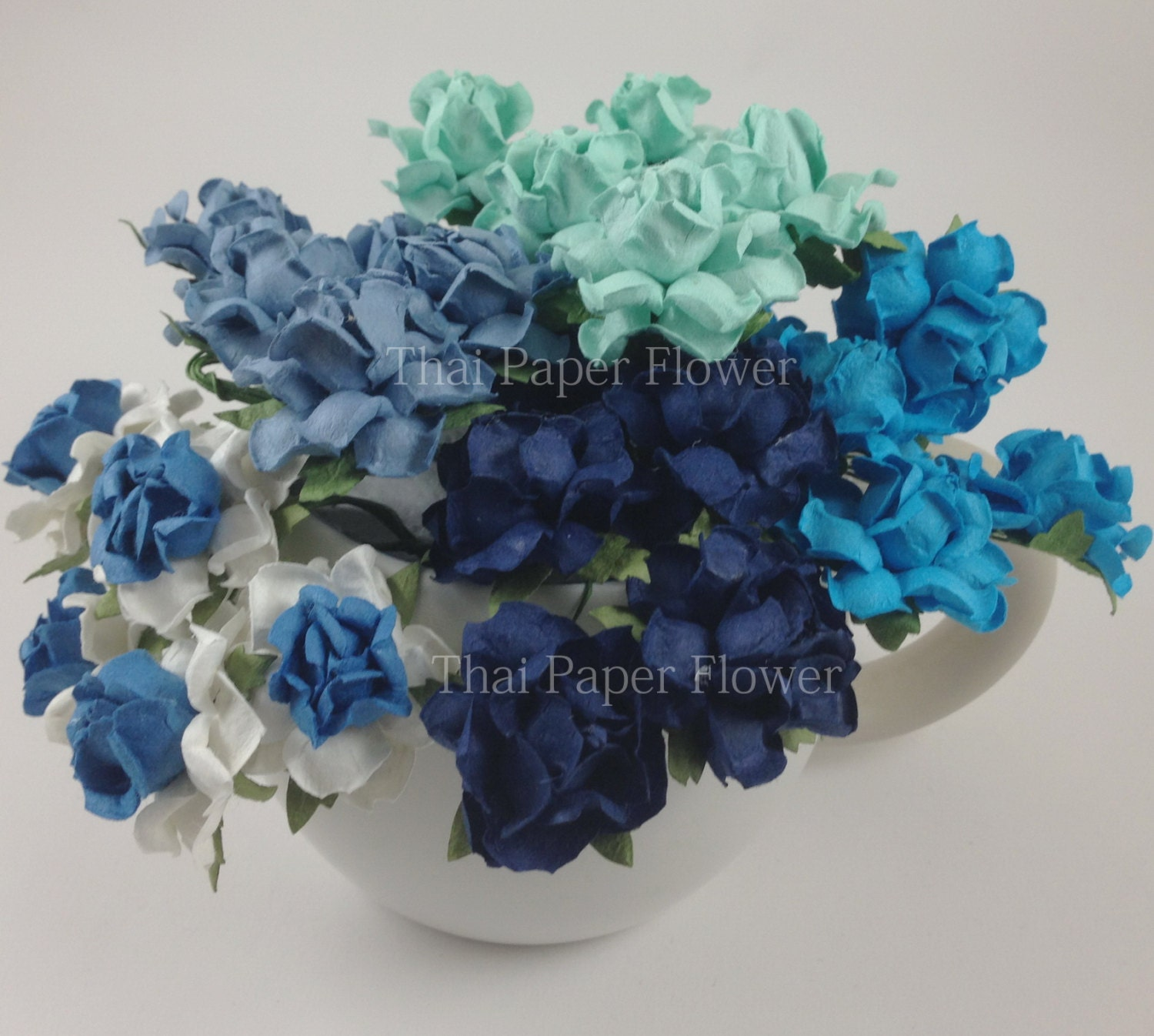 20 Blue Paper Flowers Scrapbook Craft Supply Baby Boy Shower Etsy