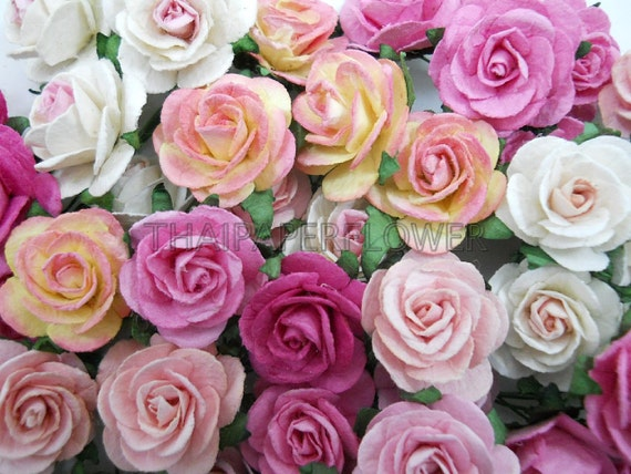 100 Mixed Pink Paper Flower Scrapbook Card Making Home Decor Etsy