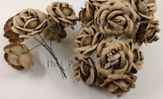 10 large taupe brown roses mulberry paper flowers scrapbook etsy image 0 mightylinksfo
