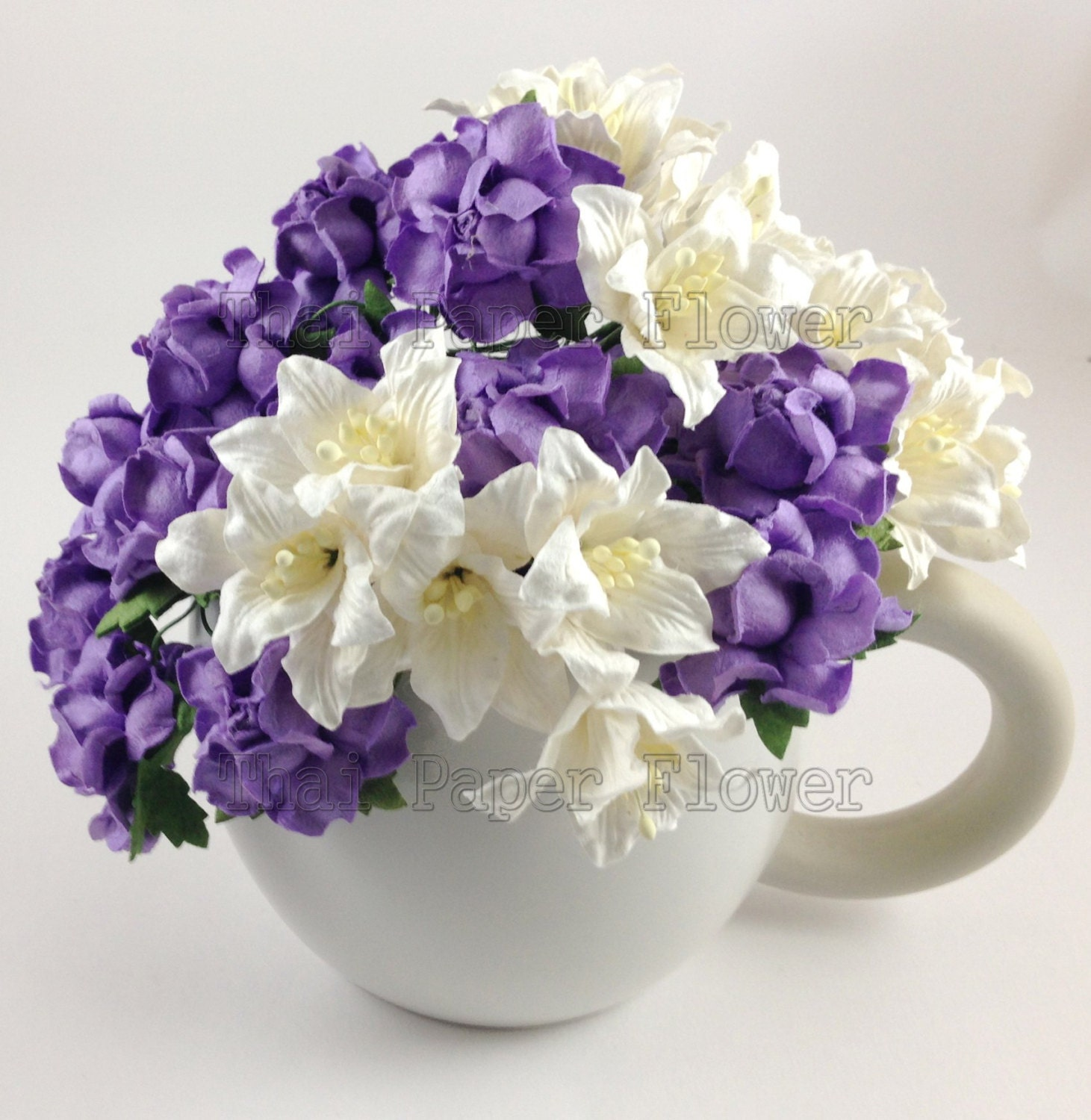 30 purple roses and white lily mulberry paper flowers etsy zoom izmirmasajfo