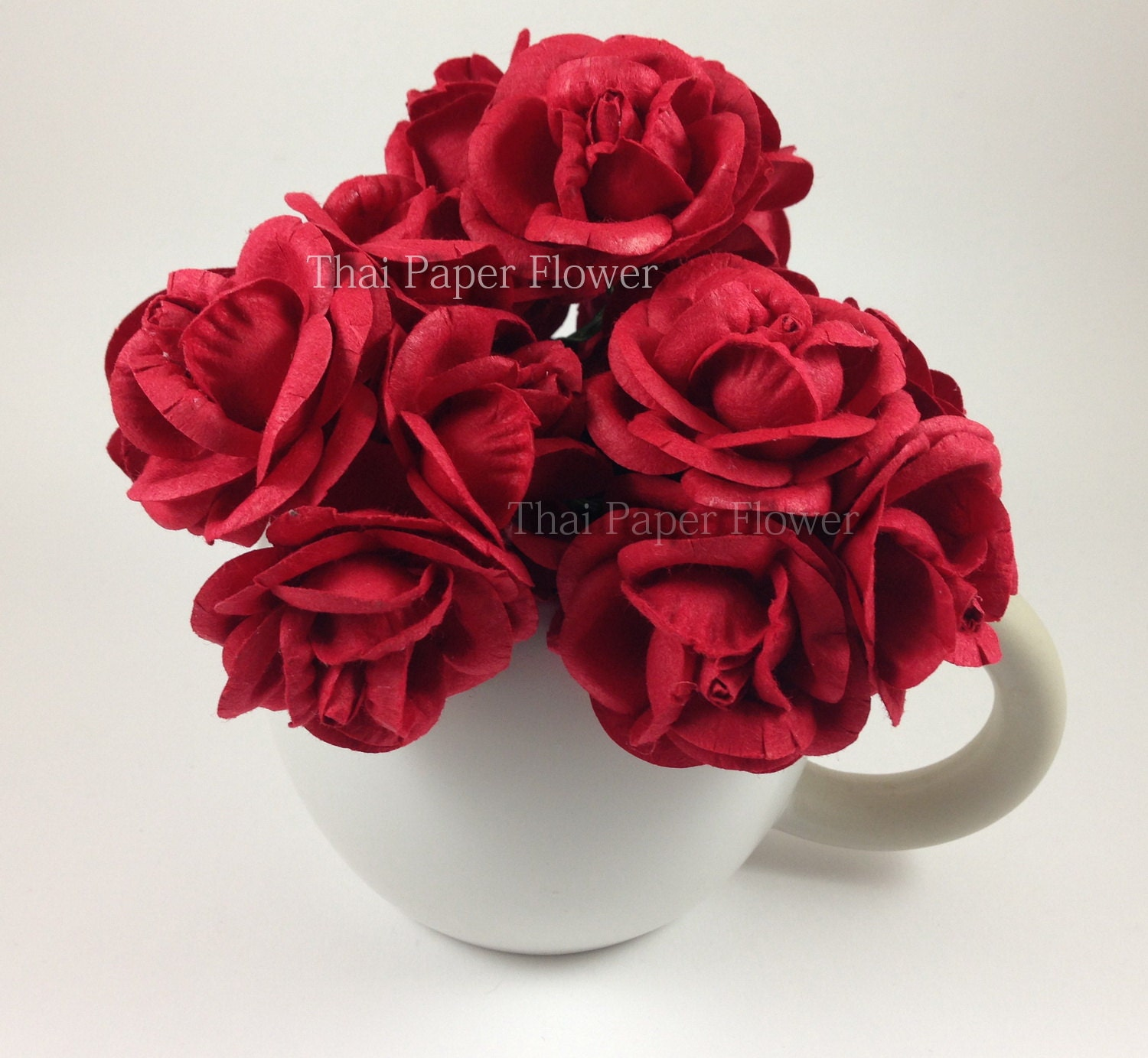 10 Red Large Roses Mulberry Paper Flowers Scrapbook Craft Etsy