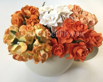 15 Orange Tangerine White Curly Mulberry Paper flower roses scrapbook card making home decor wedding craft supply G2/210