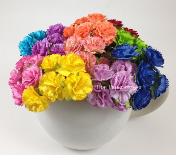 25 rainbow carnation paper flower scrapbook card making home etsy image 0 mightylinksfo