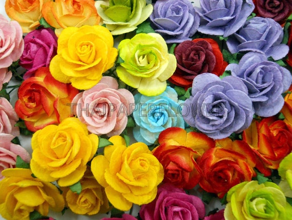 100 Rainbow Mulberry Paper Flower Roses Scrapbook Card Making Etsy