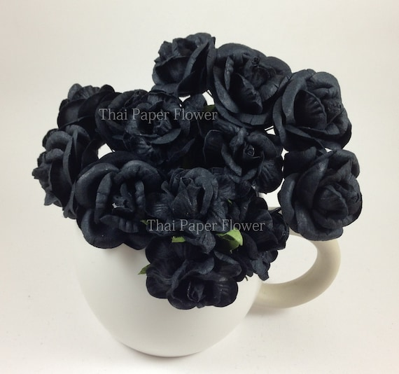 5 black large roses mulberry paper flowers scrapbook craft wedding 5 black large roses mulberry paper flowers scrapbook craft wedding supply card making no60 from thaipaperflower on etsy studio mightylinksfo
