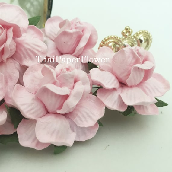 25 soft pink large roses mulberry paper flowers scrapbook etsy image 0 mightylinksfo