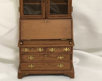 "Dollhouse Miniature 1"" Scale Curio Secretary"
