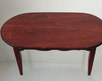 """Dollhouse Miniature Oval Dining Table in 1"""" Scale  (AT)"""