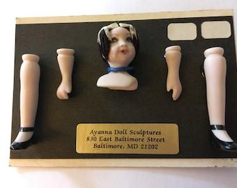 Dollhouse Miniature Doll Kit with Black Hair by Deidre Spann (RG)