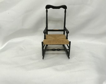 """Dollhouse Miniature 1"""" Scale Chair with Woven Seat"""