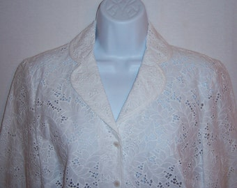 Vintage Talbots White Eyelet Jacket 6 Small Deadstock NOS NWOT Summer Coat  Blazer Lace 428604853