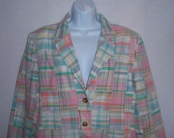 Vintage Orvis Pink Green Indian Madras Plaid Cotton Patchwork Jacket Blazer 10 Medium Pastels