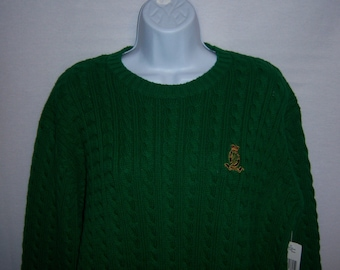 96621811c Vintage Lauren Ralph Lauren Irish Kelly Green Embroidered Crest Cotton  Heavy Cable Knit Sweater Large Deadstock NOS NWT Polo