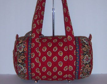 097b83f21d Vintage Vera Bradley Red Leaf Print Classic Quilted 100 Bag Purse Indiana  Handbag French Country Provencal