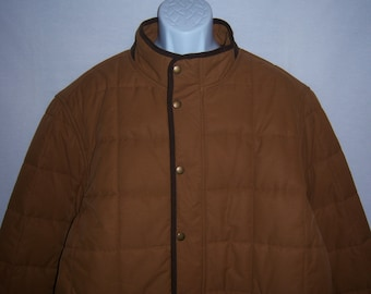 0792fe1de2 Vintage Lands  End Taupe Tan Brown Quilted Field Hunting Barn Mens Coat  Parka Jacket XXL 50 52 Extra Extra Large