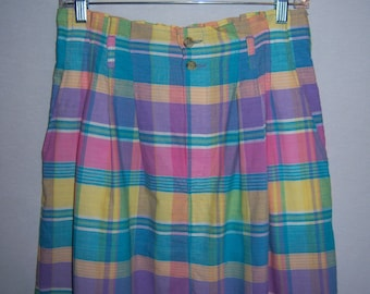 Vintage Corbin Threads Pink Turquoise Purpe Yellow Indian Madras Plaid Maxi Classic Cotton Skirt 12 14 Large Deadstock NOS NWT Pastels