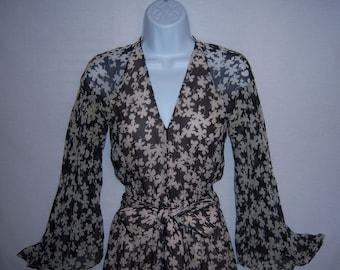 9c76543a7b22 Vintage Halston Black Ivory Off White Floral Flower Print Sheer Jumpsuit  Pantsuit Small 6 8 Palazzo Pants Harzfeld s