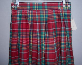 Vintage Rosslee Red Green White Indian Madras Plaid Maxi Classic Cotton Skirt 10 Medium The Oxford Deadstock NOS NWT