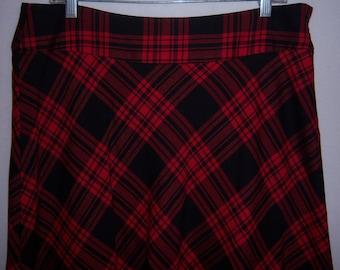 35d25c4ea4 Vintage Talbots Red Black Tartan Plaid Classic Wool Blend Skirt 10  Deadstock NOS NWT