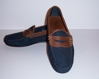 9c622fbb354 Vintage Weejuns Bass Denim Leather Classic Penny Loafers 7 D or 8.5 Medium