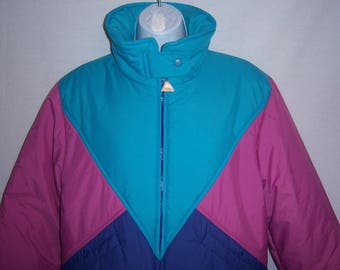 f57d92fcde Vintage Snuggler Purple Aqua Pink Apex Color Block Ski Coat Parka Jacket  Large 14 Seattle 80 s Eighties Puffy Pastels Colorblock Puffer