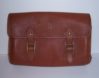 e522ec1a68 VIntage Polo Ralph Lauren Classic Brown Pebbled Leather Clutch Handbag  Purse Bag Made In Italy