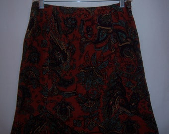 Amazing Vintage  HAROLD/'S Skirt  PAISLEY Retro Style Lined Silk Size 8