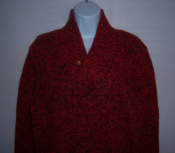 Vintage Woolrich Red Black Ragg Wool Womens Sweate