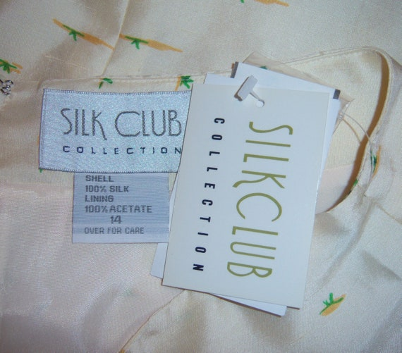 Vintage Silk Club Ivory Off White Pink Green Leop… - image 5