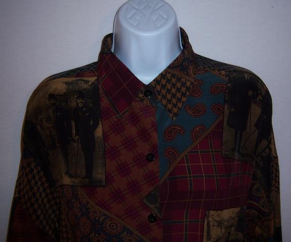 13eb127347bf45 Vintage Ellen Tracy Linda Allard Patchwork Print Silk Blouse
