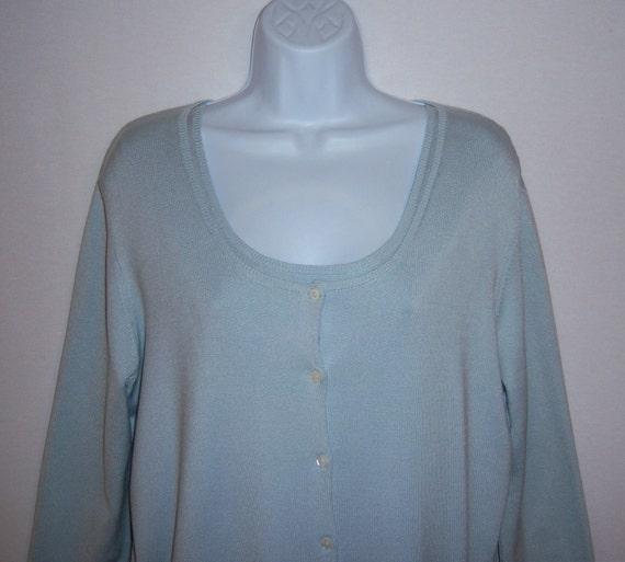 adcd0ced63f6 Vintage Lauren Ralph Lauren Newport Blue Silk Cardigan Sweater