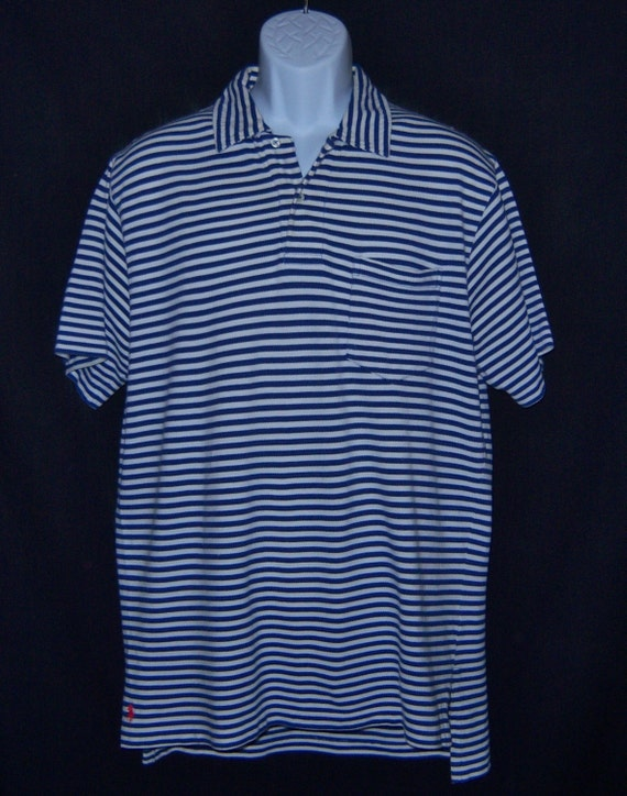 Vintage Polo Ralph Lauren White Blue Striped Soft Cotton Knit Polo Shirt Medium