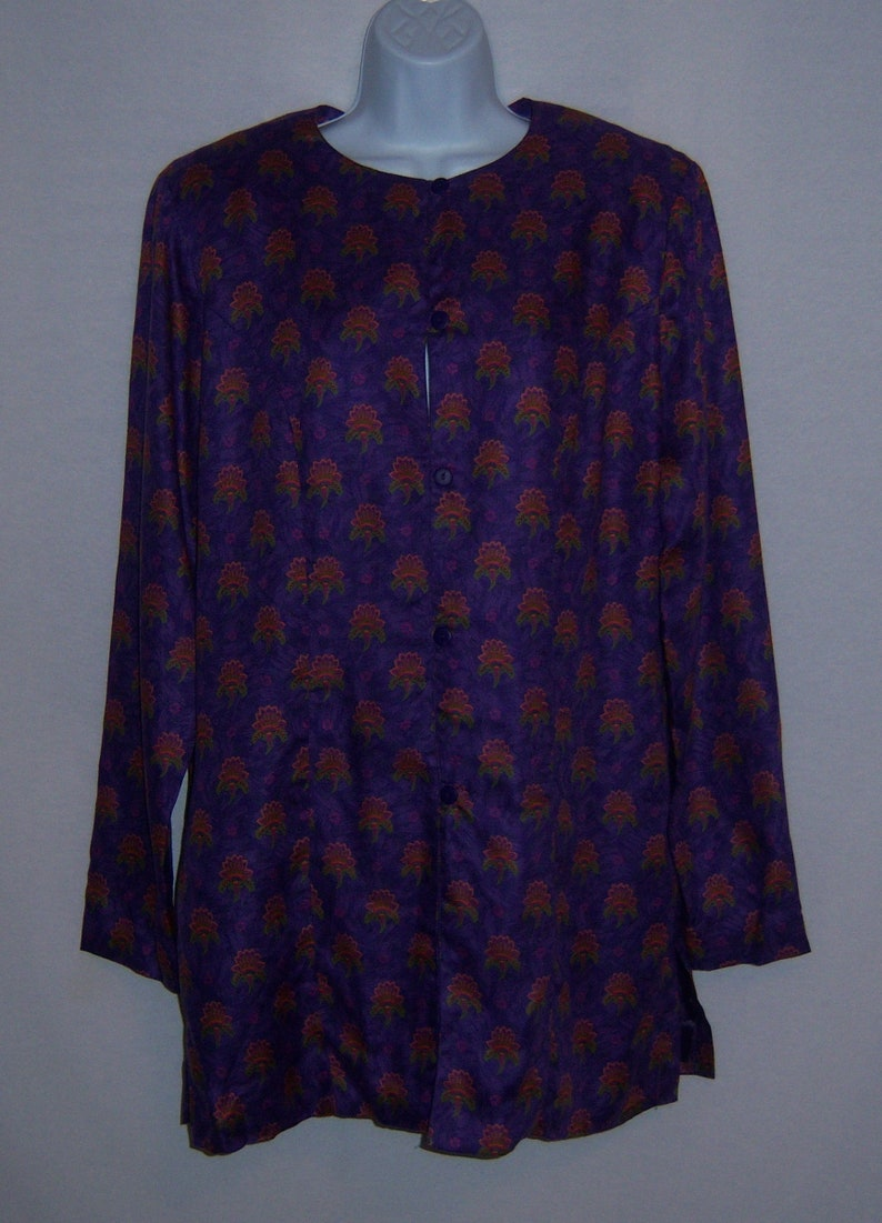 Vintage Alexander Campbell Purple Green Blue French Country Indiennes Paisley Flowers Floral Tunic Jacket 10 12 Deadstock NOS NWT Medium