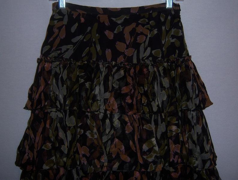 Vintage Missoni Black Green Mauve Splatter Brush Stroke Print Ruffled Flounced Silk Skirt Euro 42 US 6 8 Splash Paint