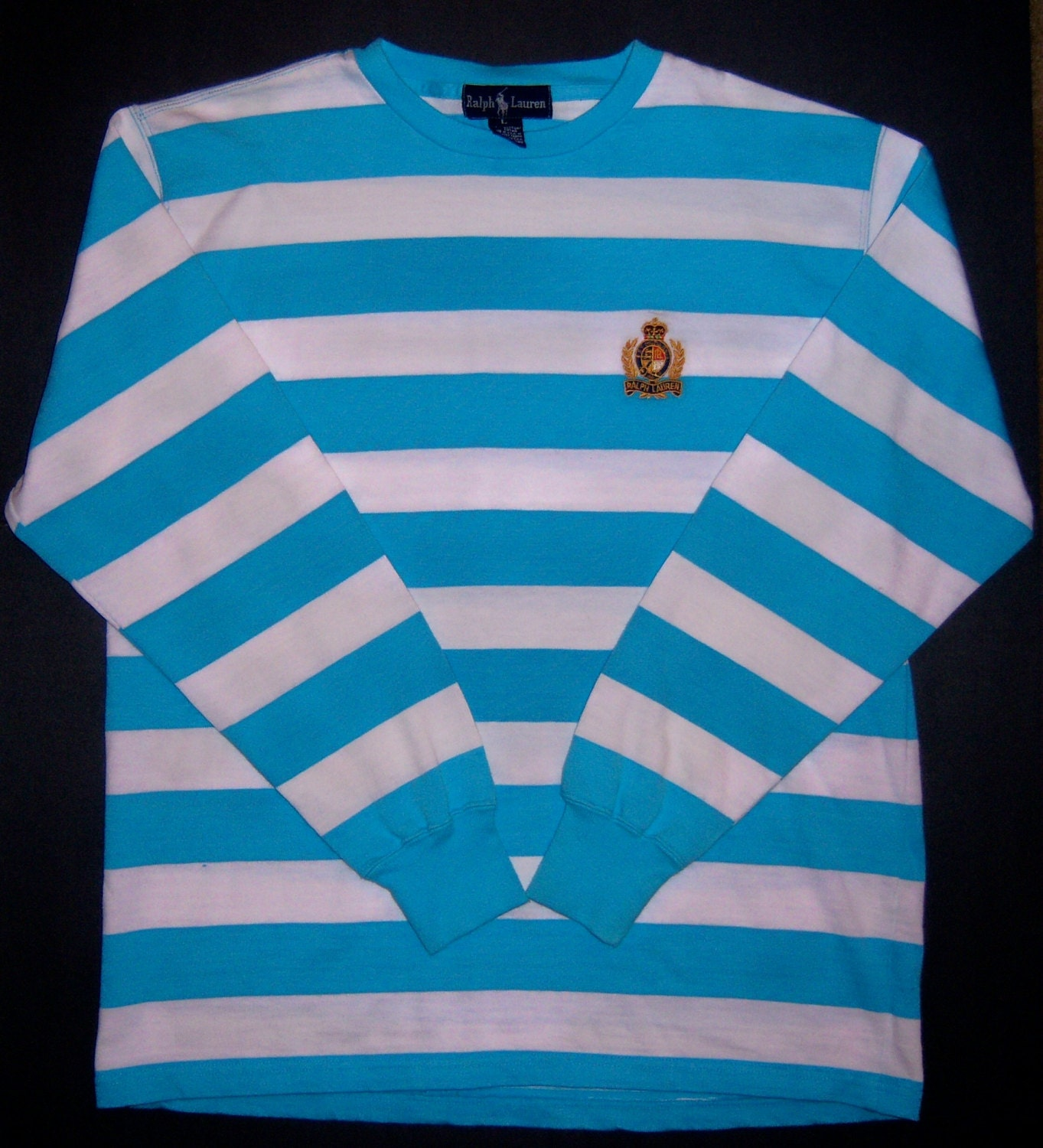 Polo Ralph Turquoise Vintage Striped Rugby Large Lauren Crest Founder's Shirt Blue Ls qSGMVpUz