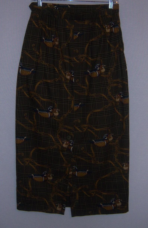 Vintage Alexander Campbell Brown Black Plaid Ducks Water Fowl Print Cotton Maxi Skirt 8 10 Huntin Field Stream