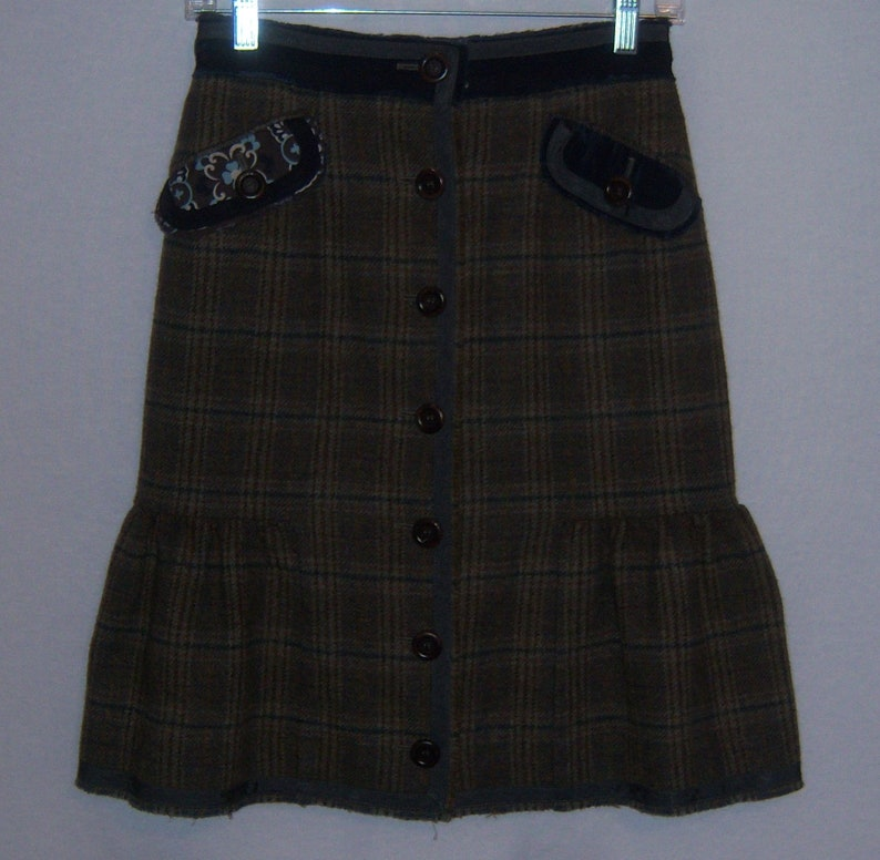 Vintage Moschino Cheap and Chic Taupe Blue Tweed Glen Plaid Embellished Wool Skirt 4 Euro 34
