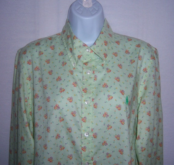 Vintage Polo Ralph Lauren Mint Green Ditsy Floral