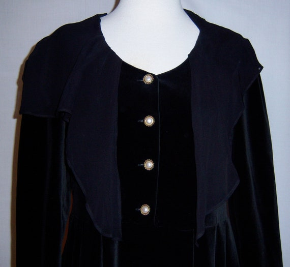 Vintage Laura Ashley Black Velvet Sailor Empire Wa