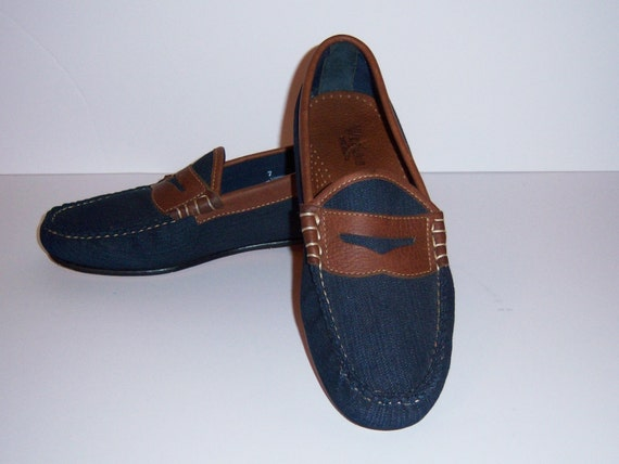 9e01b9ff5fd Vintage Weejuns Bass Denim Leather Classic Penny Loafers 7 D