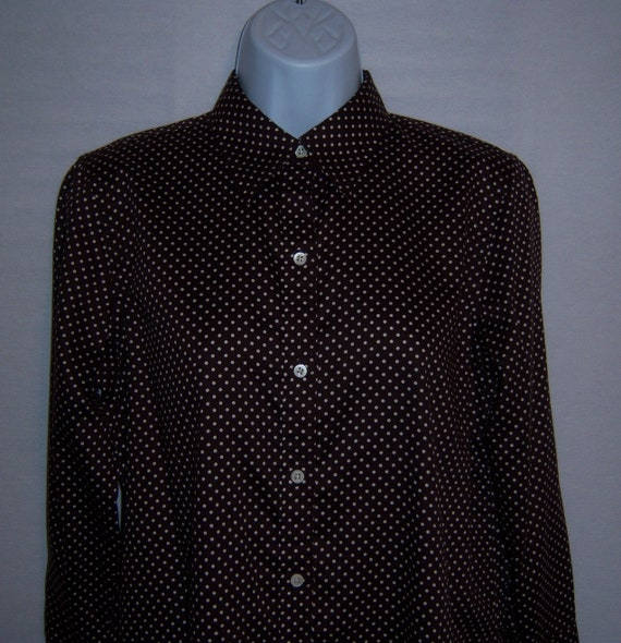 Vintage Lauren Ralph Lauren Chocolate Brown Swiss Polka Dot Polished Cotton Shirt Blouse Petite Medium PM Petites Polo Polka Dots
