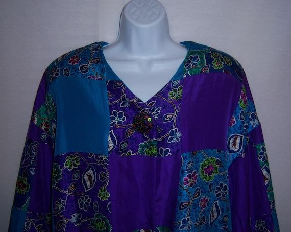 Vintage Miss Jackson's Purple Turquoise Blue Multi