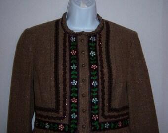 Vintage Nanette Lepore Chocolate Brown Herringbone Tweed Embelished Embroidered Floral Flower Trim Jacket Blazer Small 4 Tyrolean Alpine