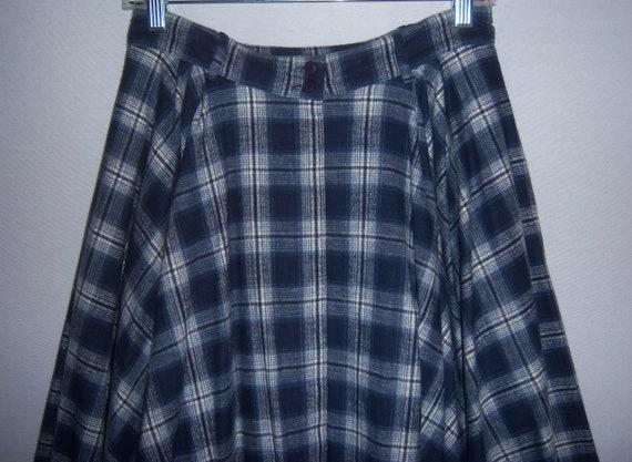 Vintage OMO Norma Kamali Blue Plaid Check Flannel