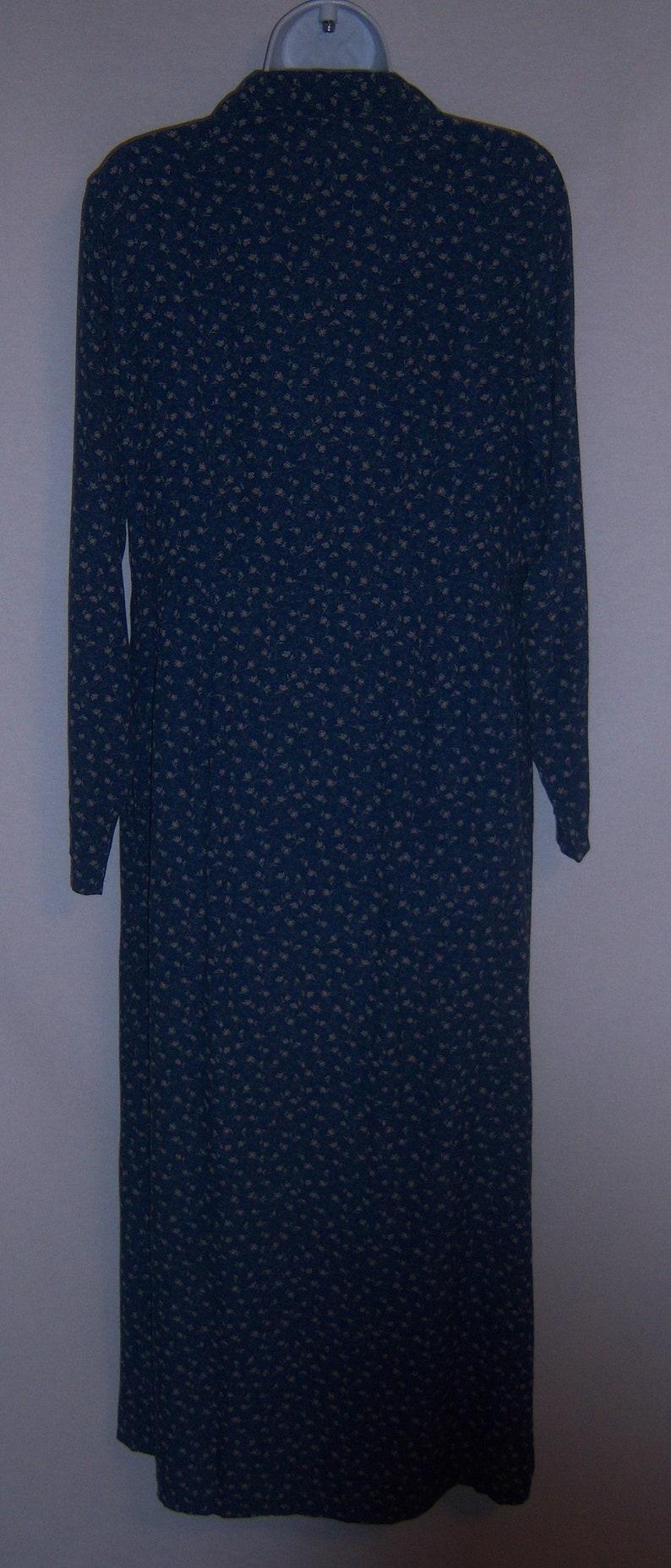 Vintage Eddie Bauer Blue Small Ditsy Floral Flower Print Prairie Maxi Dress Small S  Boho Modest
