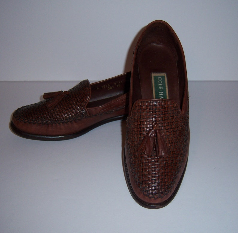 9c1b6286f6b6a Vintage Cole Haan Brown Leather Woven Braided Kiltie Tassel Loafers Shoes  Slip Ons 8 AA Narrow